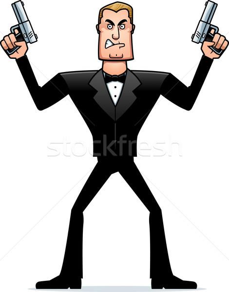 öfkeli karikatür casus örnek bakıyor Stok fotoğraf © cthoman