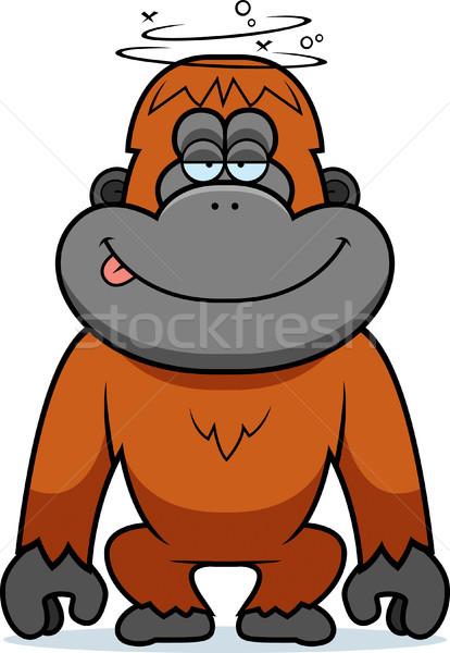 Rajz hülye orangután illusztráció boldog állat Stock fotó © cthoman