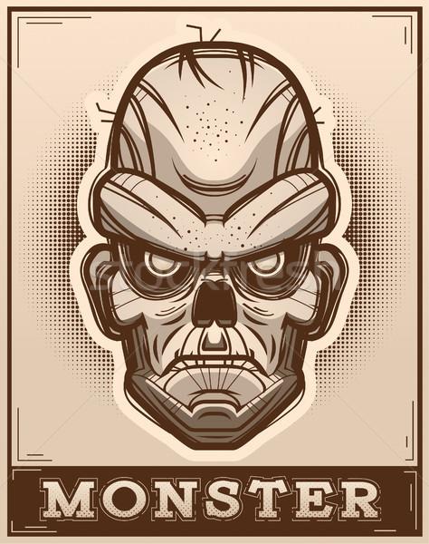 Zombi poszter illusztráció grafikus mérges rajz Stock fotó © cthoman