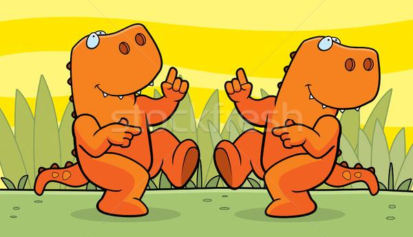 Dinossauros dança dois feliz desenho animado sorridente Foto stock © cthoman