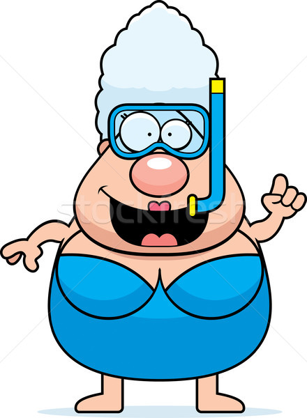 Cartoon vrouw snorkelen snorkel masker persoon Stockfoto © cthoman