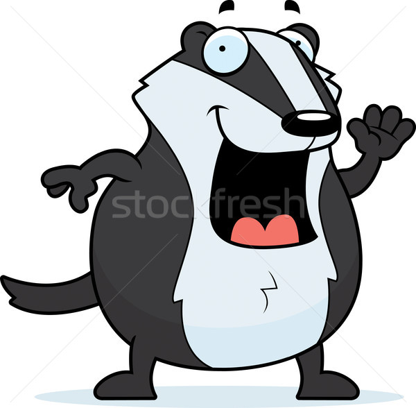 Cartoon Badger Waving Stock photo © cthoman