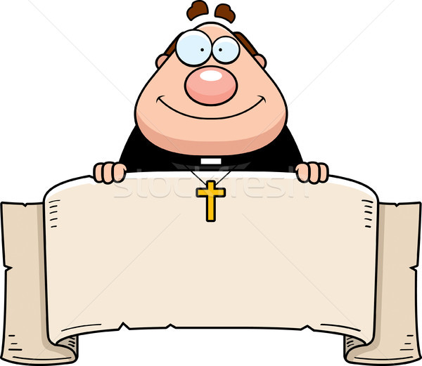Cartoon priester banner illustratie teken mannen Stockfoto © cthoman