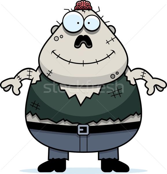 Uśmiechnięty cartoon zombie ilustracja mężczyzn mózgu Zdjęcia stock © cthoman