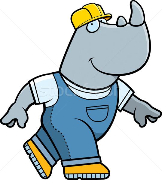 Constructor rinocer fericit desen animat lucrător Imagine de stoc © cthoman