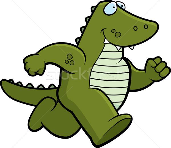 Gator läuft glücklich Karikatur lächelnd Tier Stock foto © cthoman