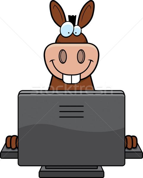 Burro computador feliz desenho animado teclado monitor Foto stock © cthoman
