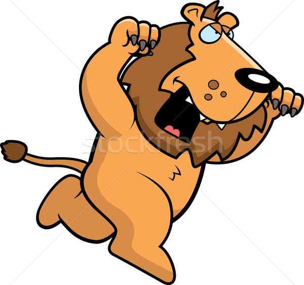 Karikatür aslan çalışma saldırı dışarı Stok fotoğraf © cthoman