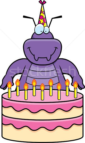 Foto stock: Desenho · animado · bicho · aniversário · ilustração · bolo · de · aniversário · festa