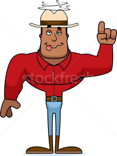 Desenho animado bêbado vaqueiro olhando Foto stock © cthoman