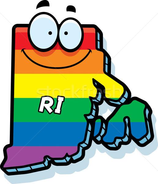 Desenho animado Rhode Island casamento gay ilustração sorridente arco-íris Foto stock © cthoman