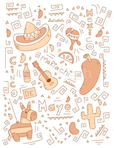 Mayonesa garabato Cartoon alimentos fondo pimienta Foto stock © cthoman