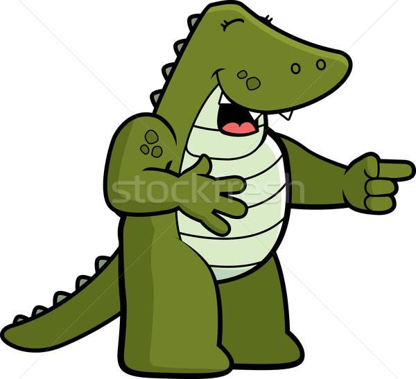 Aligator śmiechem szczęśliwy cartoon wskazując uśmiechnięty Zdjęcia stock © cthoman