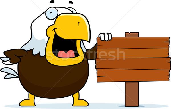 Cartoon лысые орел знак Постоянный древесины Сток-фото © cthoman