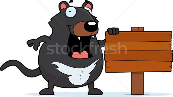 Cartoon Tasmanian Devil Sign Stock photo © cthoman