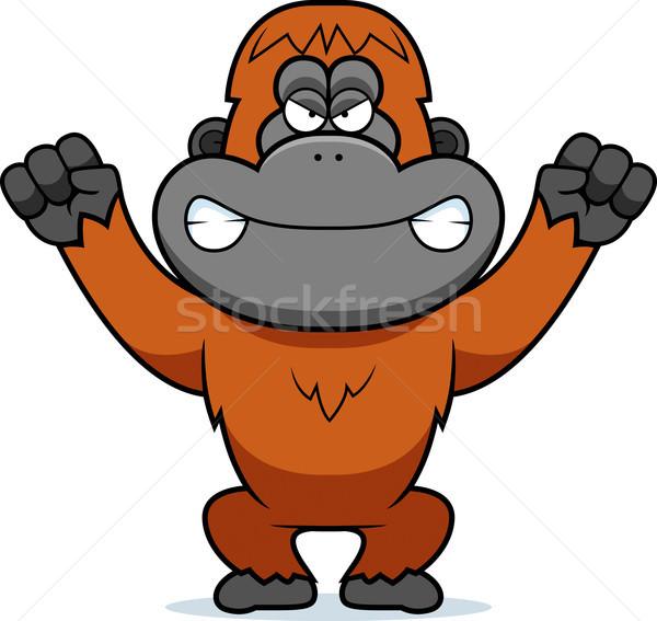 öfkeli karikatür orangutan örnek bakıyor grafik Stok fotoğraf © cthoman