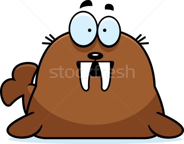 удивленный Cartoon морж иллюстрация глядя животного Сток-фото © cthoman