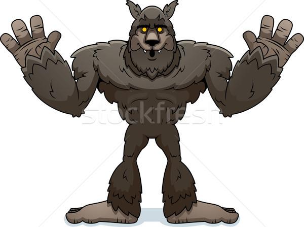 Cartoon оборотень иллюстрация руки вверх животного страшно Сток-фото © cthoman