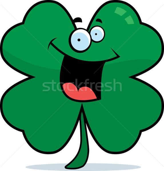 Trevo sorridente desenho animado quatro folha feliz Foto stock © cthoman