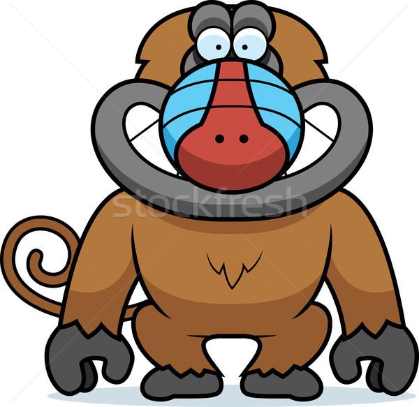 Karikatur Pavian grinsen Illustration grinsend lächelnd Stock foto © cthoman