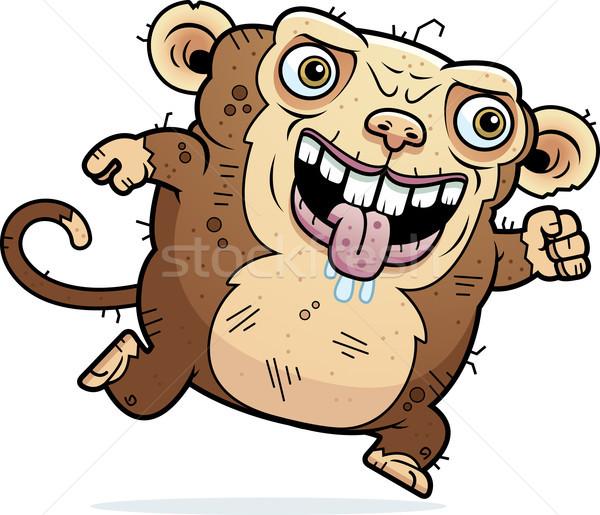 Lelijk aap lopen cartoon illustratie dier Stockfoto © cthoman