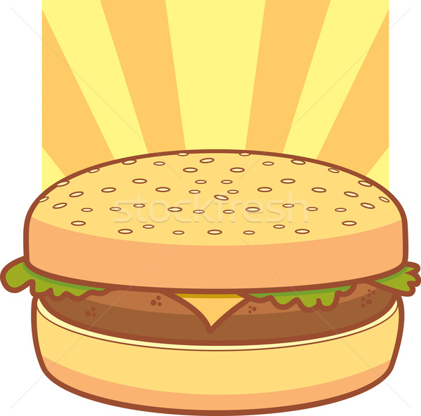 Cartoon cheeseburger laitue chignon alimentaire Photo stock © cthoman