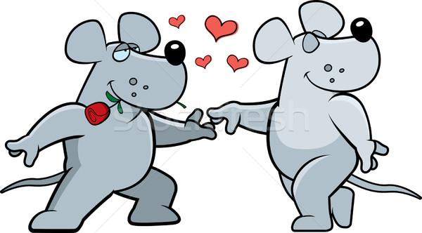 Rat romantiek twee cartoon gelukkig liefde Stockfoto © cthoman