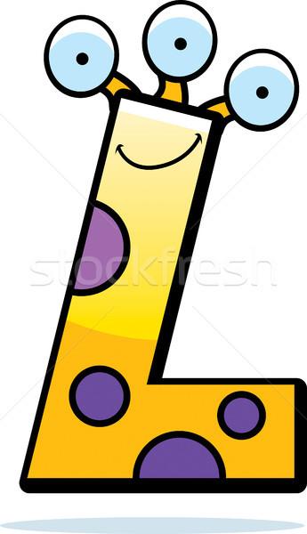 Lettera l mostro cartoon illustrazione sorridere felice Foto d'archivio © cthoman