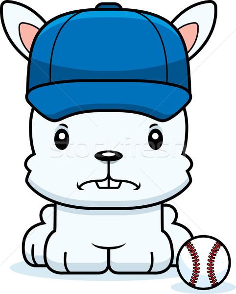 Desenho animado zangado jogador de beisebol coelho olhando esportes Foto stock © cthoman