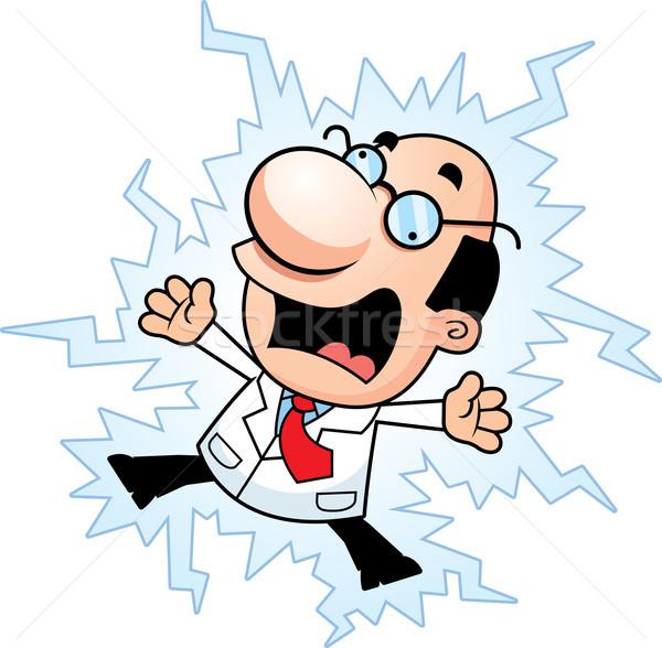 Cartoon Scientist Electrocuted Stock photo © cthoman