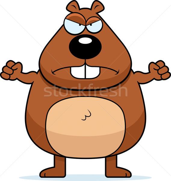 бобр сердиться Cartoon глядя расстраивать Сток-фото © cthoman