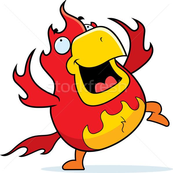 Stockfoto: Cartoon · phoenix · dansen · gelukkig · glimlachend · brand