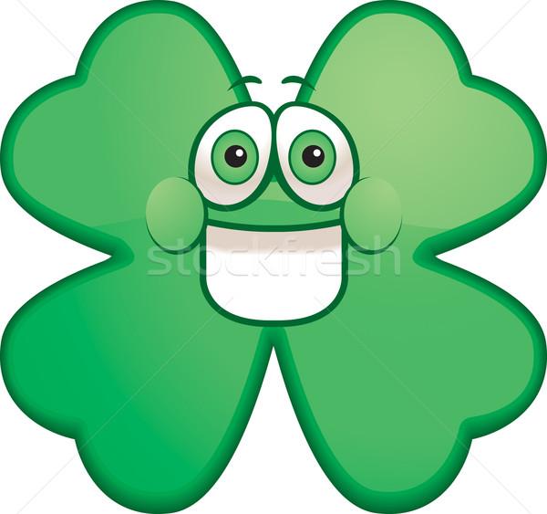 Shamrock sorridente desenho animado verde feliz trevo Foto stock © cthoman