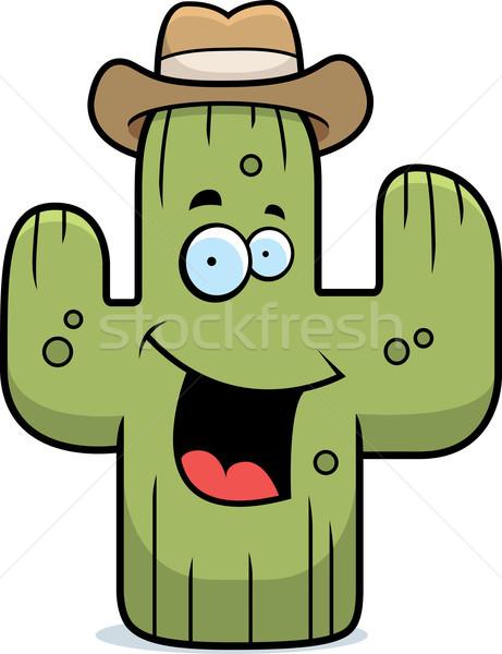 Cactus sorridere cartoon cowboy felice Foto d'archivio © cthoman