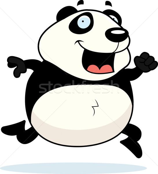 Panda lopen gelukkig cartoon glimlachend Stockfoto © cthoman