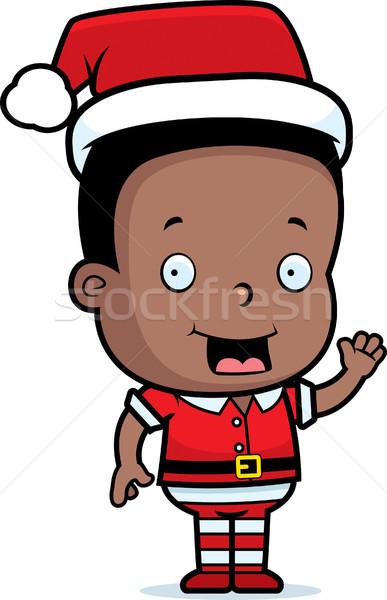 Natal elfo feliz desenho animado sorridente Foto stock © cthoman