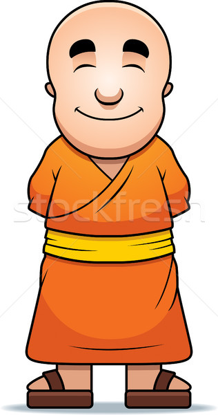 Budista monge feliz desenho animado em pé sorridente Foto stock © cthoman