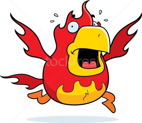 Cartoon phoenix paniek lopen brand Stockfoto © cthoman