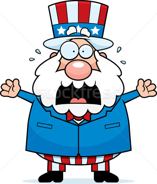 Cartoon Patriotic Man Panicking Stock photo © cthoman