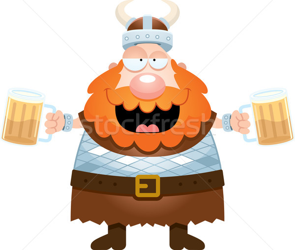 Cartoon Viking Drinking Beer Stock photo © cthoman