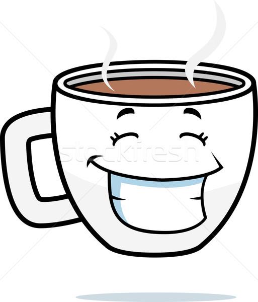xícara de café sorridente desenho animado copo café