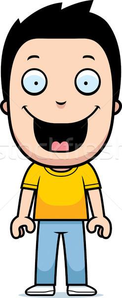 Cartoon jongen glimlachend gelukkig permanente kinderen Stockfoto © cthoman