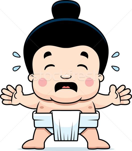 Cartoon sumo jongen huilen illustratie weinig Stockfoto © cthoman
