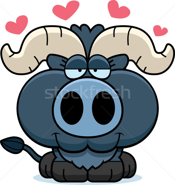 Stock photo: Cartoon Little Blue Ox Love