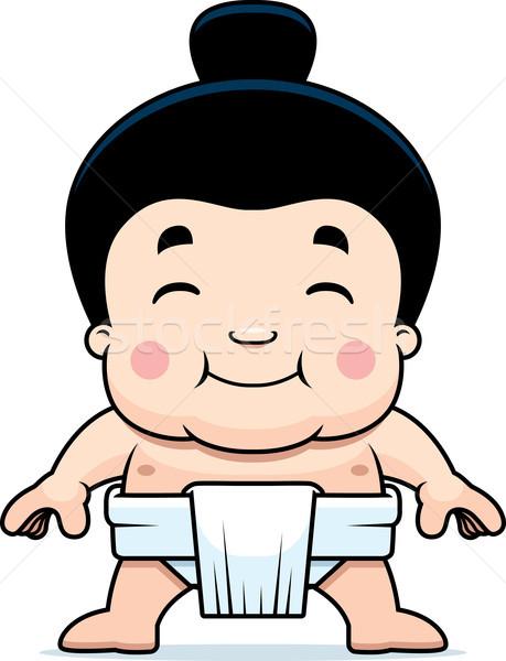 Cartoon Sumo Boy Smiling Stock photo © cthoman