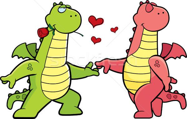 Draak romantiek twee gelukkig cartoon draken Stockfoto © cthoman