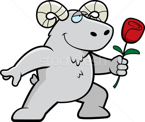 Baran kwiat szczęśliwy cartoon miłości zwierząt Zdjęcia stock © cthoman