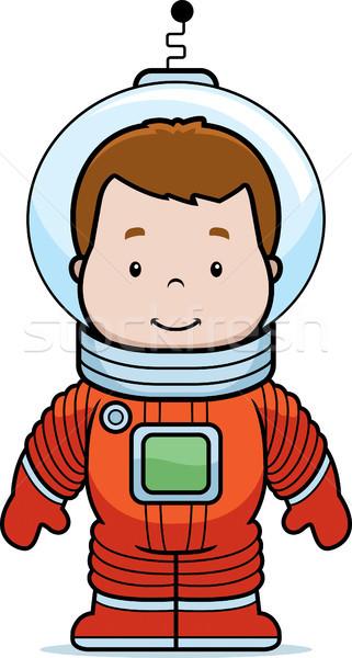 Desenho animado astronauta menino feliz Foto stock © cthoman