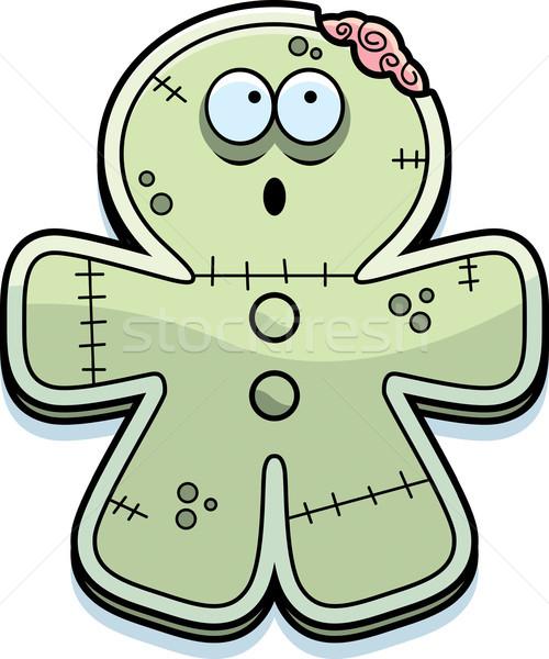 Karikatür zencefilli çörek zombi ısırmak örnek bakıyor Stok fotoğraf © cthoman