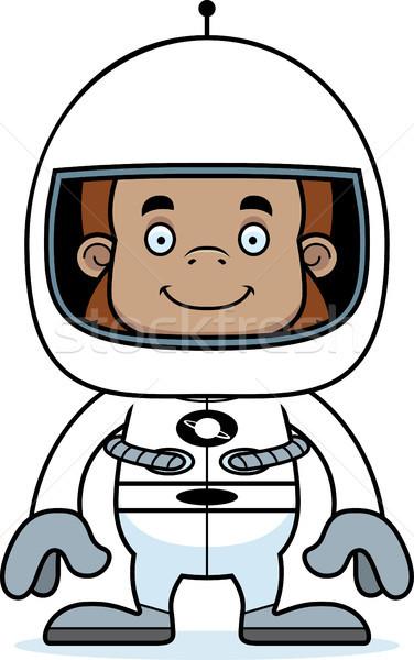Karikatür gülen astronot mutlu hayvan kask Stok fotoğraf © cthoman